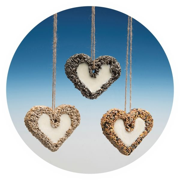 "HJ70 - Glazed LARGE ""Heart"" with Sunflower kernel & Suet"