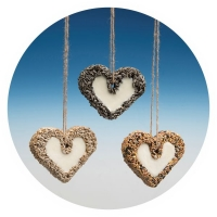 "HJ68 - Glazed LARGE ""Heart"" with Seeds & Suet"